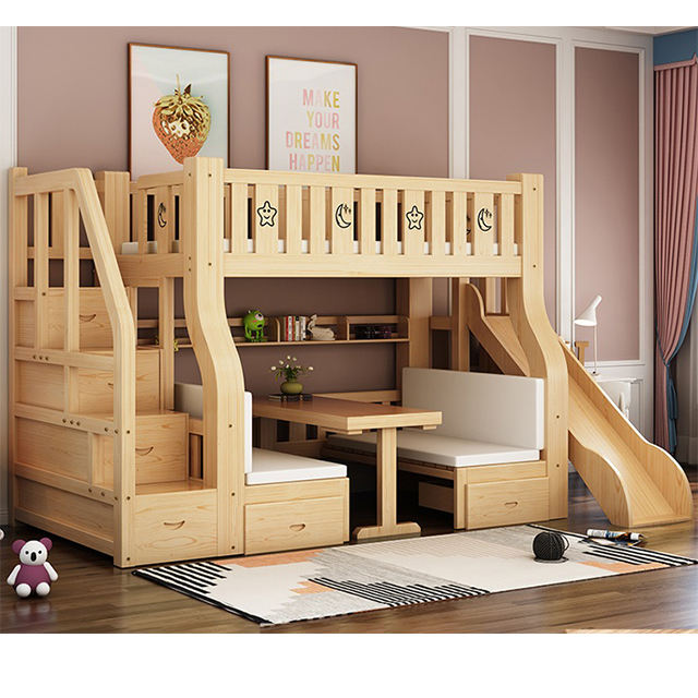Kids wooden furniture sets wooden bunk bed adjustable bedroom bunk bed for sale