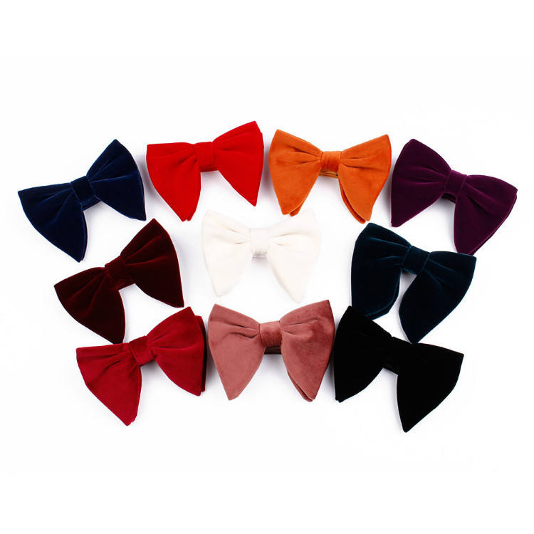 Gold soft velvet plush pleuche made high quality butterfly bow tie for men and women wholesale