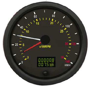 140mm Digital Speedometer and Tachometer with RPM get signal from RPM Sensors