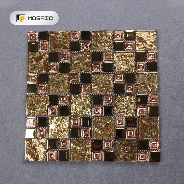 Gold And Brown Glass Mix Stone Mosaic Tile Backsplash 6MM Design Mosaics Tiles