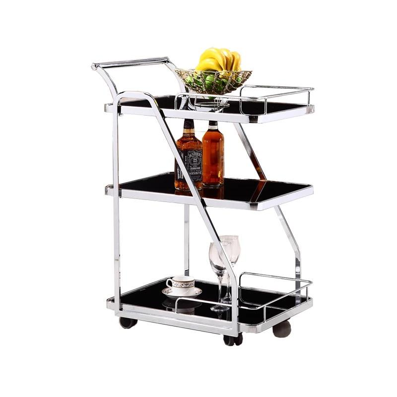 Luxury metal glass tea wine food drinks salon serving trolley bar cart for hotel restaurant banquet wedding party
