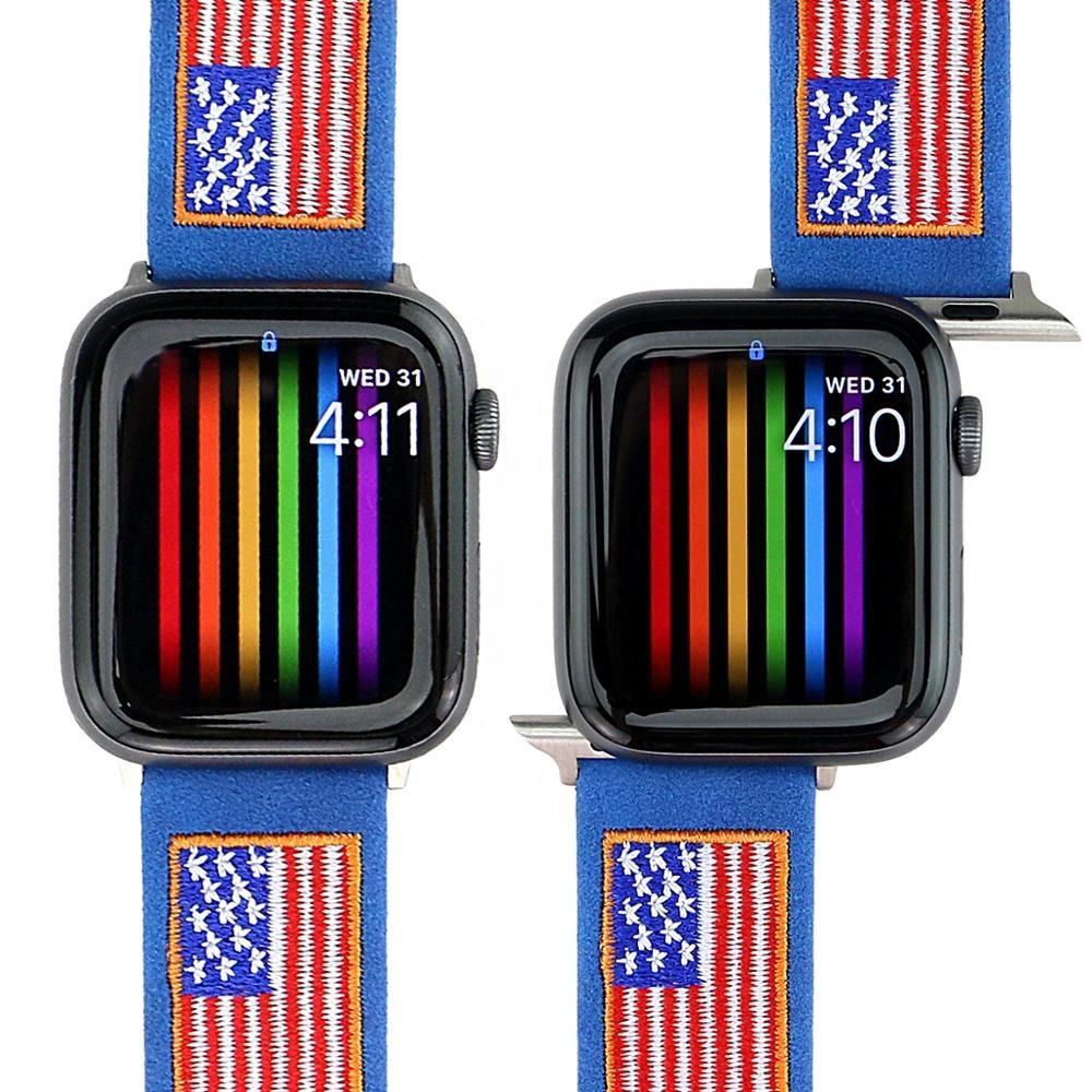 USA Flag Leather Watchband for Apple Watch Band Series 5/4/3/2/1 Sport Bracelet 42/44mm 38/40mm Strap For iWatch Band
