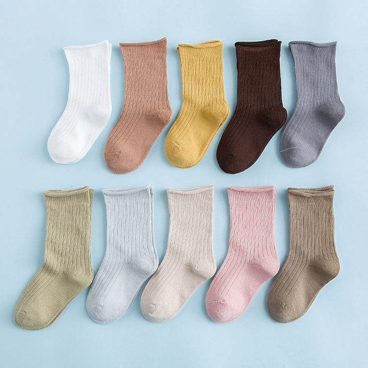 Wholesale Breathable Cute Ribbed Infant Baby Socks Set Colorful Cotton Kids Ruffle Socks