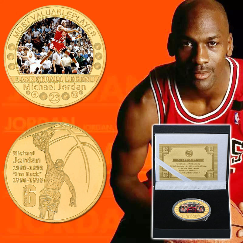 2020 Hotest Michael Jordan Gold Plated Coins Collectibles Most Valuable Player Gold Metal Coins For Christmas New Year Gifts