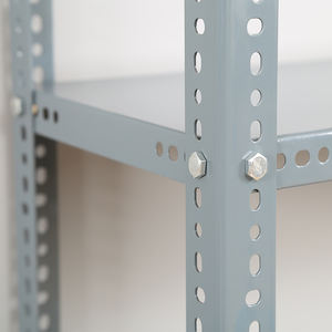 adjustable painted powder coated storage bolted metal shelf steel slotted angle shelving rack plate board holders