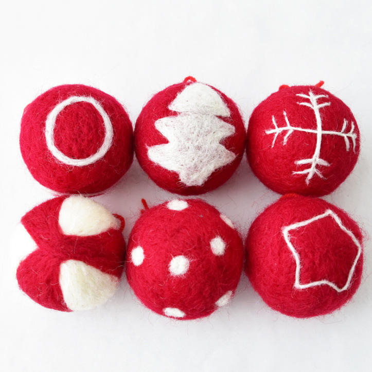 Christmas Party Helper Wool Felt Balls with Hanging Strings for Christmas