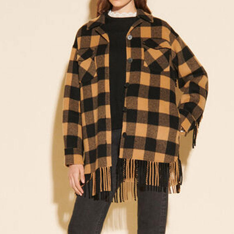 Custom Designed Long Sleeve Plaid Thickened Shirt For Women Autumn And Winter