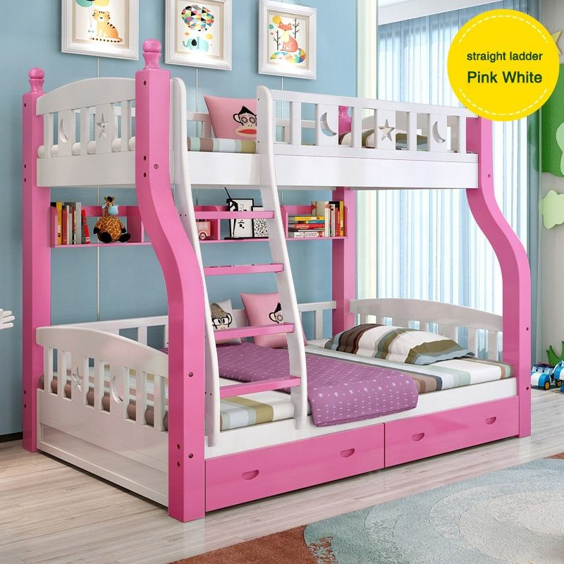 new products wooden children bunk bed double modern white pink kids bunk beds with drawers