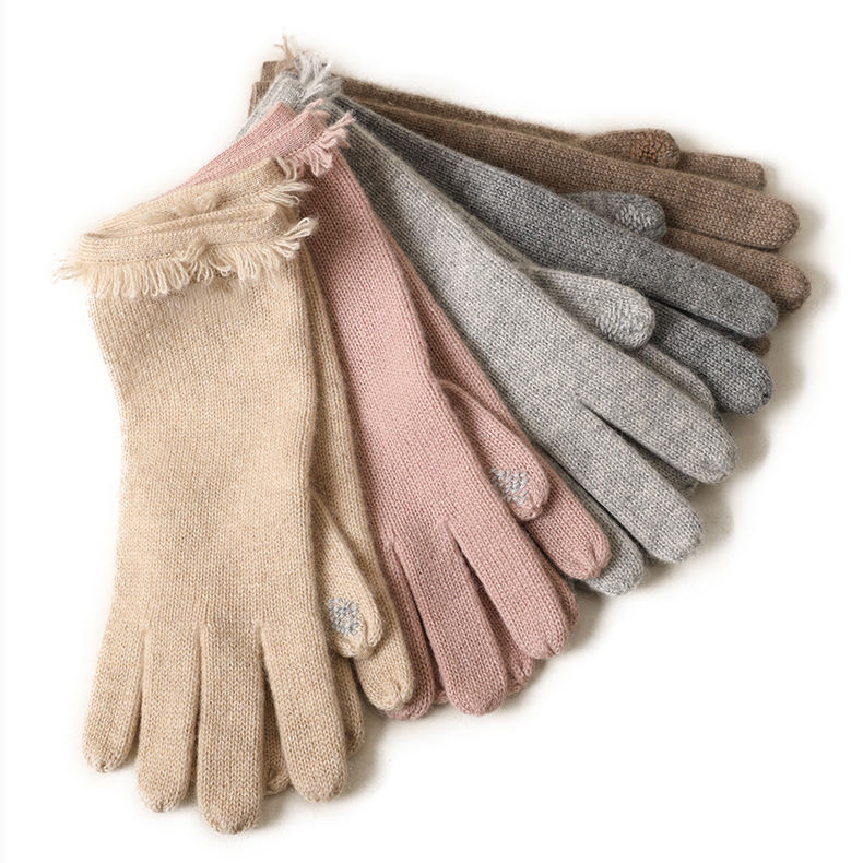 Screen Touching Winter Fashion Womens warm knitted Cashmere long Gloves wholesale
