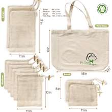 eco Big A Reusable Produce Bags Organic Cotton Mesh Recyclable Tare Weight on Label Double-Stitche cotton drawstring bag