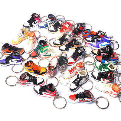 2D 3D Mini Sneakers Shoe Keychain Model With Metal Ring Sport Basketball Keychain