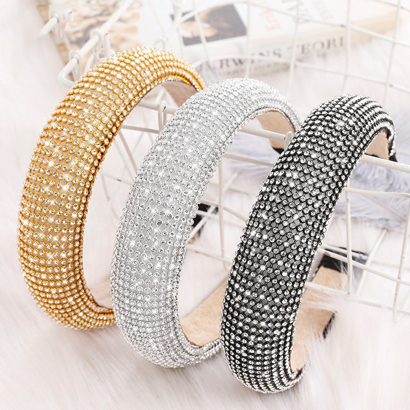 Baroque Full Diamond Luxury Headband Party Sponge Padded Bling Crystal Rhinestone Headband Women Hair Accessories