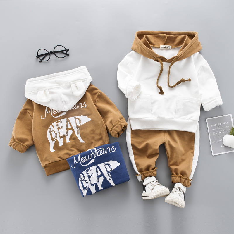 Stock 2020 Autumn Winter Kids Clothes Sets,Hooded+Pant 2Pcs Outfit Baby Kids Boys Girls Cotton Clothing Sets