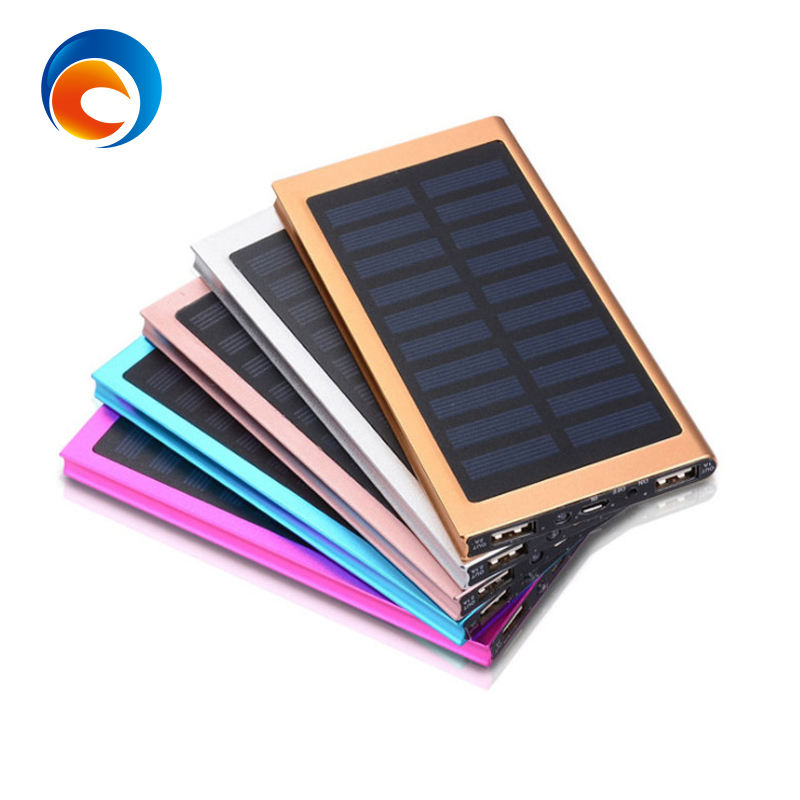 Portable 20000mAh Mobile Cell Phone Ultra Slim Power Bank Solar Charger with Dual USB