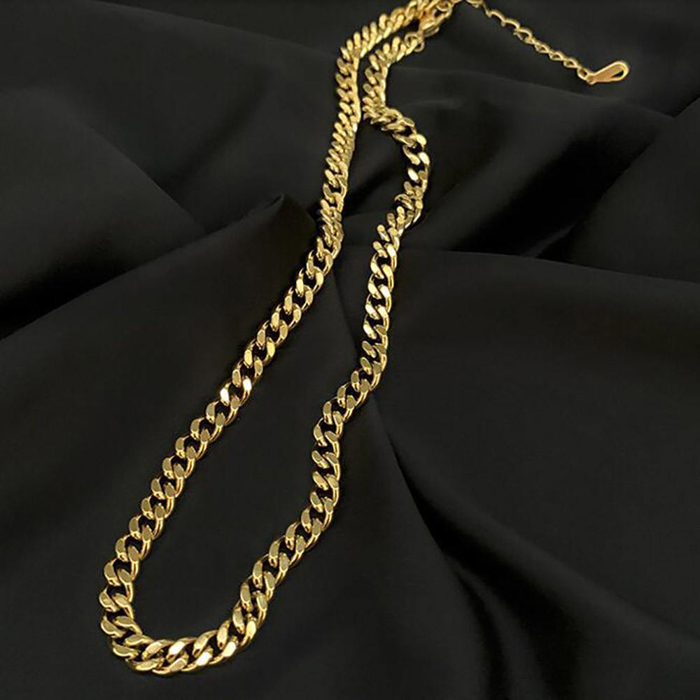 Thick wide cuban link choker necklace stainless steel women gold chain