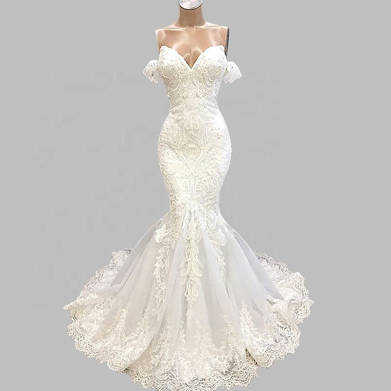 Mermaid Sleeve Sweetheart Wedding Dress Lace Aplique Beading Lace Up Bridal Gown Sheath Wedding Dresses With Sweep Train