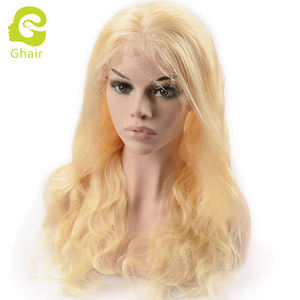 Ghair wholesale hair vendors cuticle aligned brazilian human hair 613 blonde full lace wigs body wave