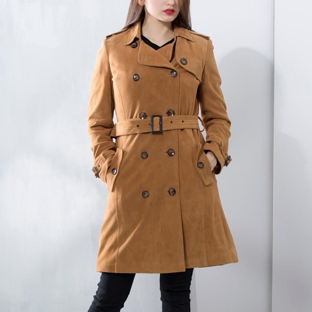 Dalian Donice Women's Custom OEM Leather Suede Trench Coat