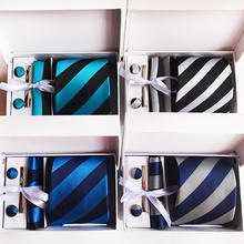 High Quality Custom Personalized Mens Ties Square Scarf Cufflinks Gifts Box Men'S Clothing Accessories Father'S Day Gift Set