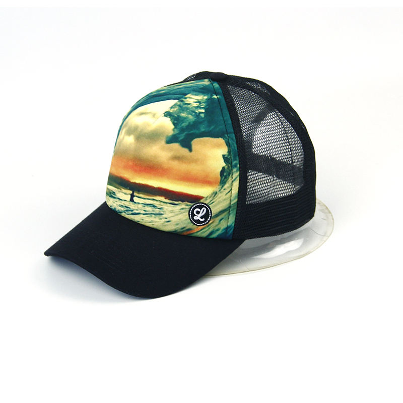 hot sale sublimation printed trucker mesh cap, logo custom sports cap