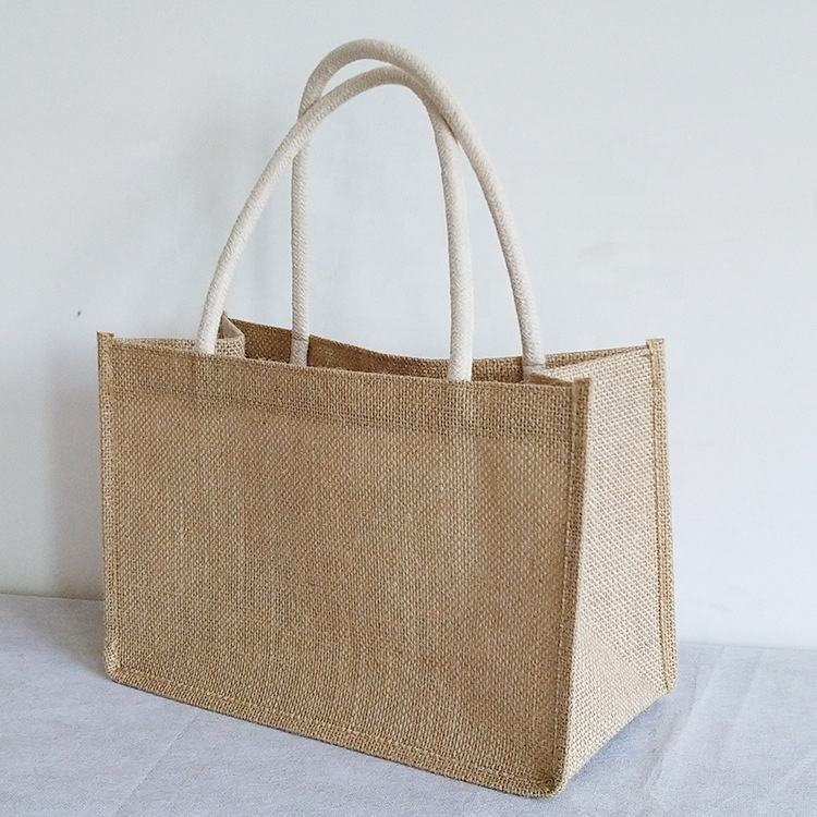 SH Promotional Cheap Natural Recycle Shopping Jute Tote Bags