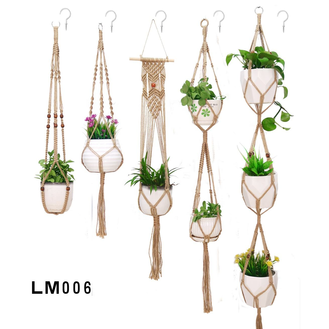 Macrame Plant Hangers Set of 5 Indoor Wall Hanging Planter Basket Flower Pot Holder Boho Home Decor