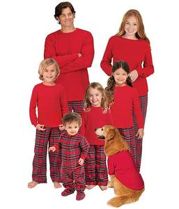 Wholesale Men Women Kid mommy and me outfits Red Plaid Sleepwear Christmas mommy and me sets Pajamas