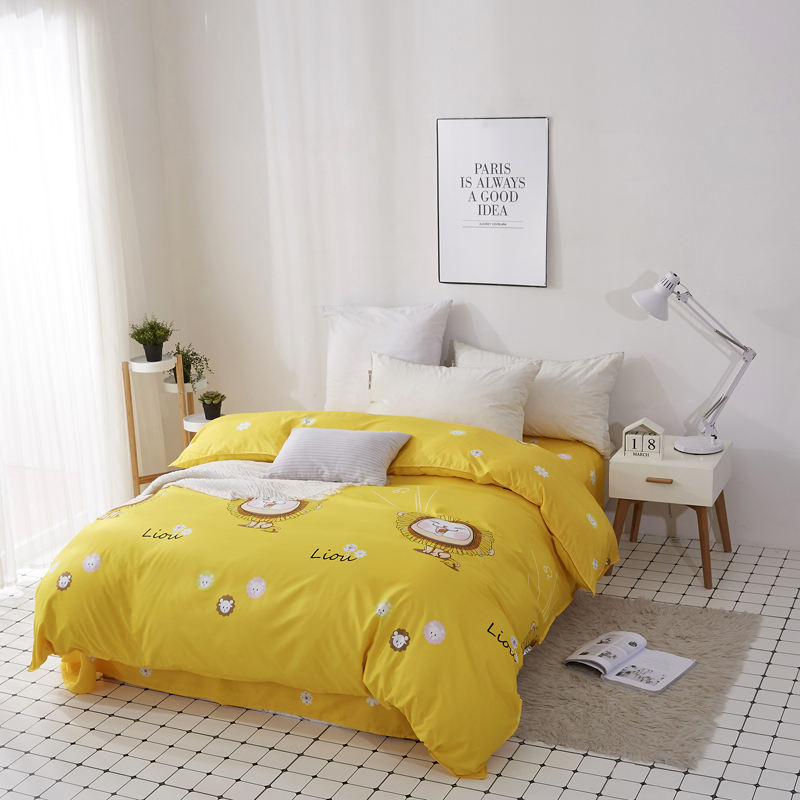Home Textile 100% Polyester Flat Sheet , Quilt Duvet Cover , Bed Linen With Pillow Case