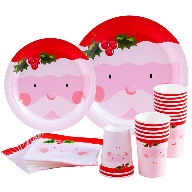 Custom Disposable Paper Plates Cups Napkins Christmas Party Supplies for Santa Christmas Themed Parties
