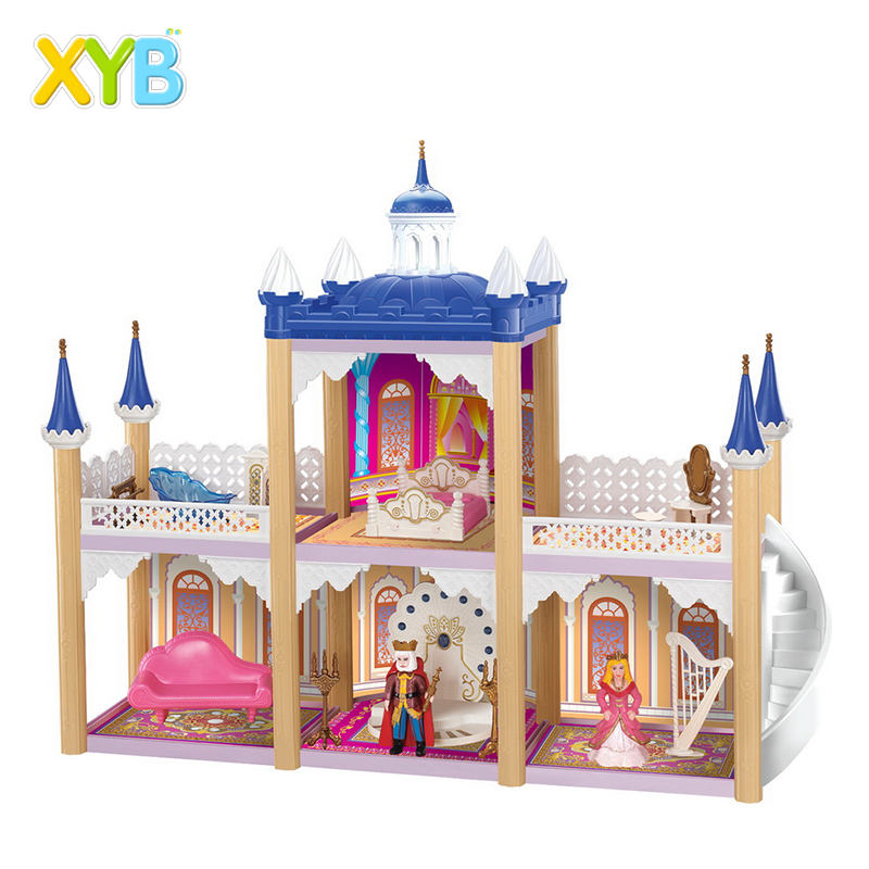 Xyb Hot Selling Pretend Play <span class=keywords><strong>Diy</strong></span> Poppenhuis Plastic Meubilair Speelgoed Kinderen Plastic <span class=keywords><strong>Kasteel</strong></span> Bouwstenen Speelgoed Set