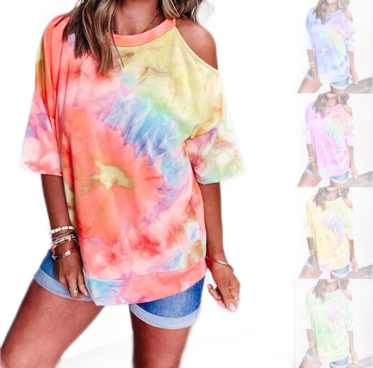 Factory Price Trade Assurance 2020 Fashion Casual Short T-shirts O- Neck Tie Dye Cord Shoulder Plus Size Short sleeves Tops