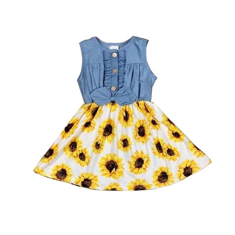 Customize Girls Patriotic Dress Wholesale Preorder Boutique Children Clothes Baby Girl Denim / Floral Dress