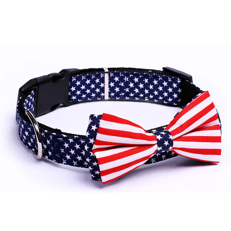 Wholesale Cheap Personalized Dog Accessories Colorful Design Nylon Dog Collar with Bowtie For Pet