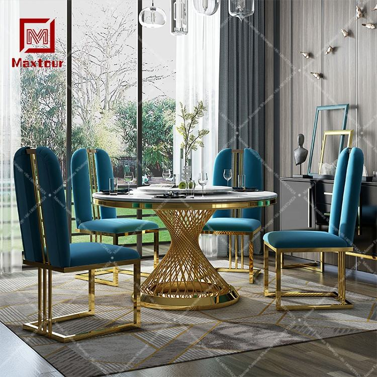 Luxury round marble stainless steel dining table set chairs for dinning room