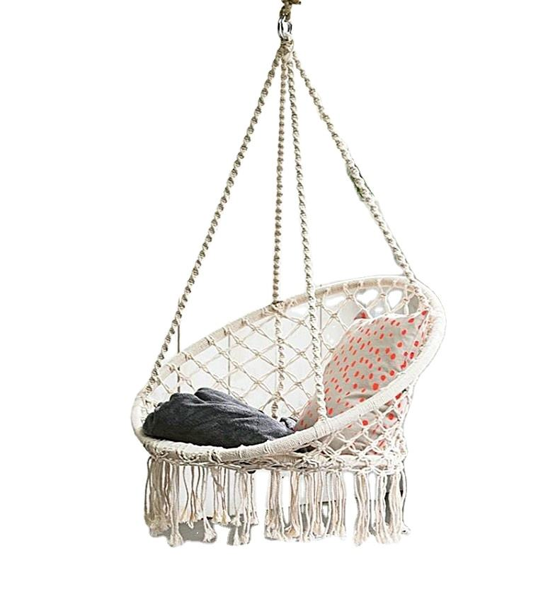 Nordic Style Cotton Rope Woven Hanging Basket Portable Ultralight Swing Chair Folding Indoor Outdoor Camping Hammock