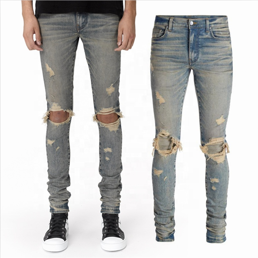 Custom Mens Slim Fit Distressed Denim Pants Blue Ripped Skinny Jeans For Men