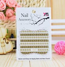 Wholesale gold Cute Metal Nail Art 3D Charms Small thin Sticks nail decals customized