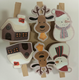 Merry Christmas series wooden clips reindeer Snowman house shaped pegs