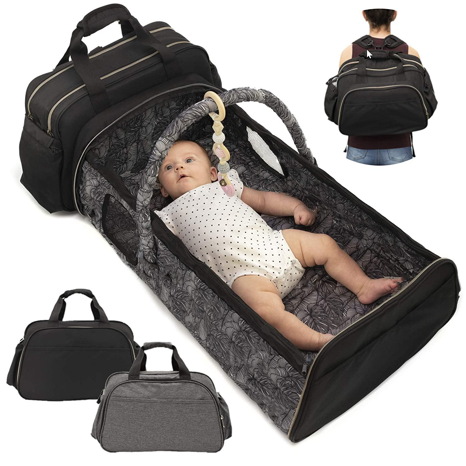 Portable Bassinet for Baby Travel - Travel Bassinets for Babies Large 3 in 1 Diaper Bag Backpack Changing Station Wear 5 Ways