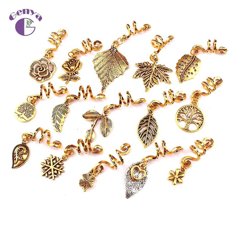 Genya New Golden Dreadlocks Beads Boho Braid Beads Decorations Jewelry Leaf Hair Rings DIY Hair Accessories