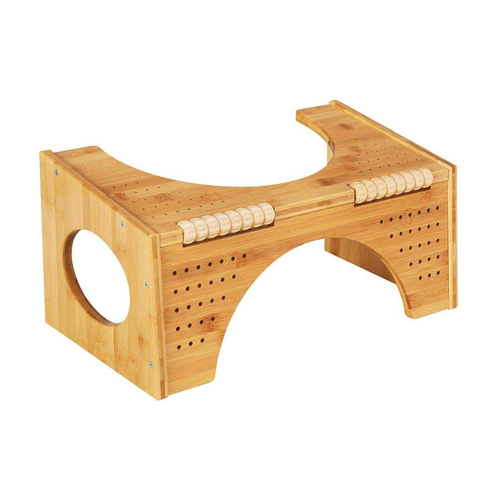 "Bamboo Squatting Toilet Step Stool with Flip Adjustment,Two Sizes-in-one(7"" and 10"")"