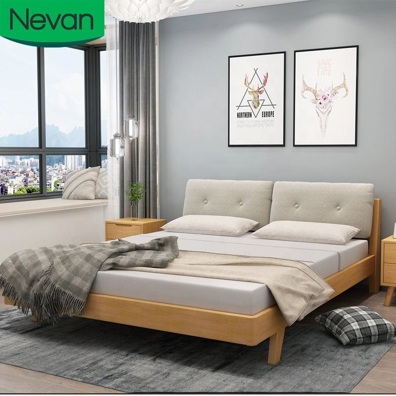 Wholesale solid wood designs single or queen size bed room set modern bedroom furniture wood bed