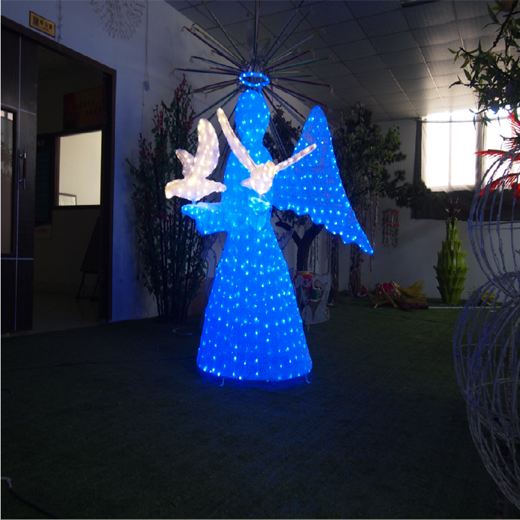 Outdoor lighting made in china 3d multi color led lighted elf angel wing neon light for garden street decor