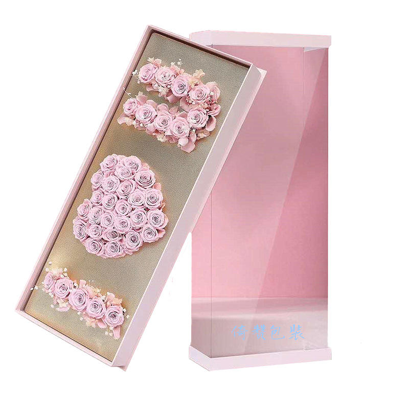 Hebei Huiya new design of gift box with love and floral foam, acrylic box, gift box stock