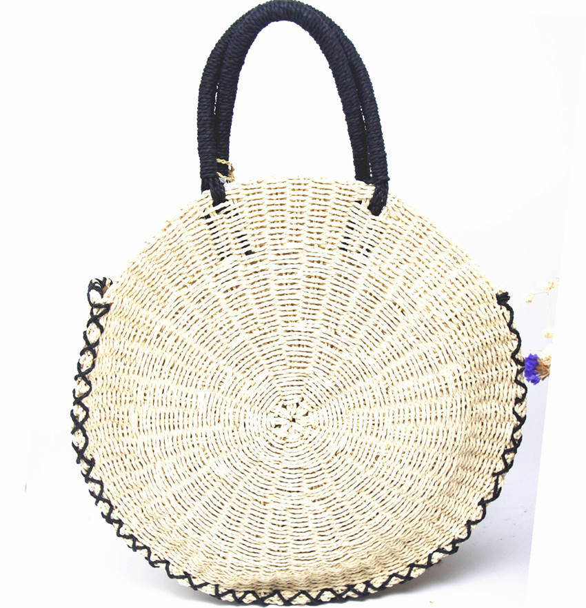 Big capacity New style hot sell paper straw woven round straw bags women handbag