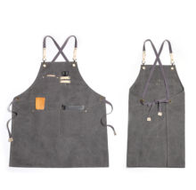 Wholesale washed canvas apron custom print long bib apron kitchen for chef