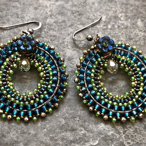Embellished Beaded Hoop Earrings in Shades of Teal Blue and Green