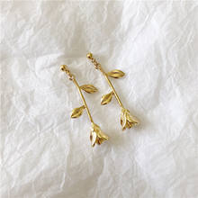 Minimalist Gold Flower Women Drop Earrings Personality Ear Rings Flower Shape Korean Style