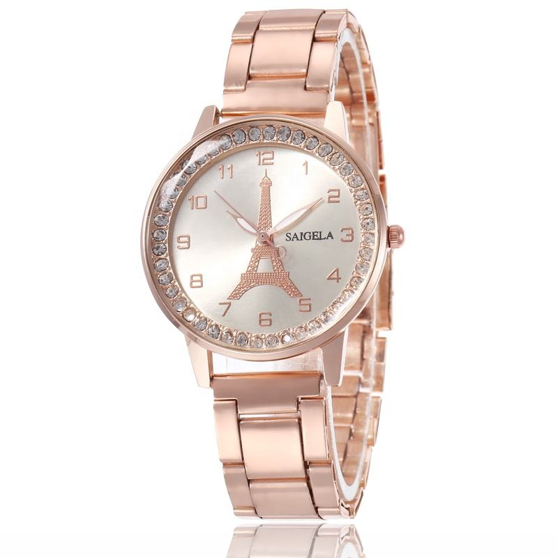 Rose Gold Strap Crystal Around Face Watch Women Numbers Steel Watches For Girls jam tangan TW457