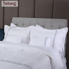 Taitang Linen 100% Cotton Custom White Duvet Cover With Pillow Case Quilt Cover Bedding Set All Size